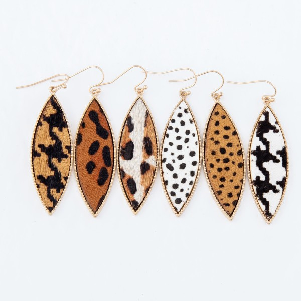"""Metal Encased Genuine Leather Houndstooth Drop Earrings in Gold.  - Approximately 2.25"""" Long"""