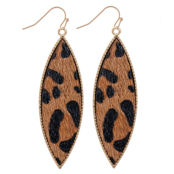 "Metal Encased Genuine Leather Leopard Print Drop Earrings in Gold.  - Approximately 2.25"" Long"