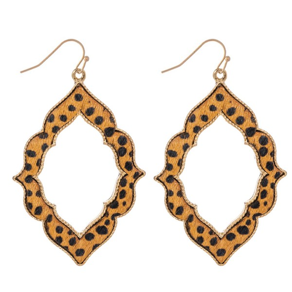 "Metal Encased Genuine Leather Cheetah Print Moroccan Drop Earrings in Gold.  - Approximately 2.5"" Long"