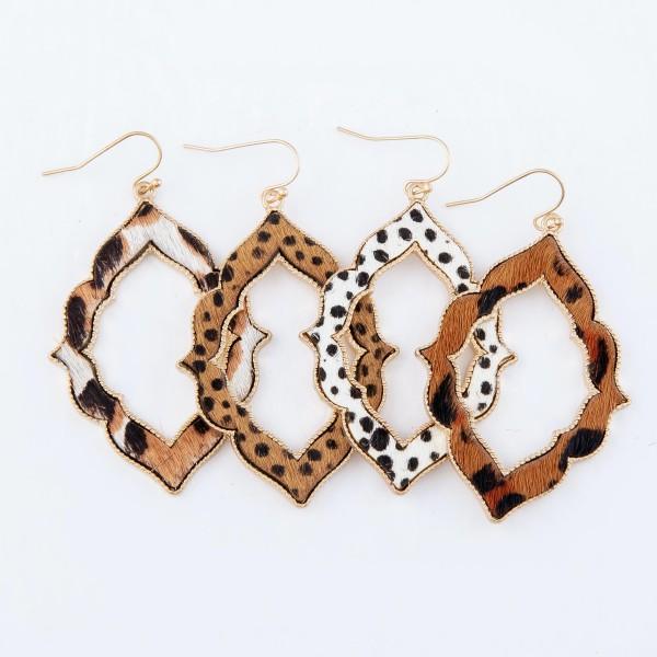 "Metal Encased Genuine Leather Leopard Print Moroccan Drop Earrings in Gold.  - Approximately 2.5"" Long"