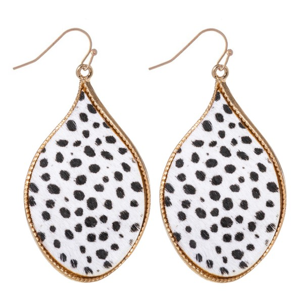 "Metal Encased Genuine Leather Cheetah Print Curved Teardrop Earrings in Gold.  - Approximately 2"" Long"