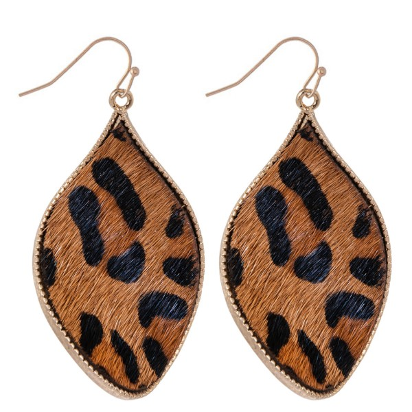 "Metal Encased Genuine Leather Leopard Print Curved Teardrop Earrings in Gold.  - Approximately 2"" Long"