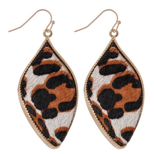 "Metal Encased Genuine Leather Leopard Print Curved Teardrop Earrings in Gold.  - Approximately 2"" Long"
