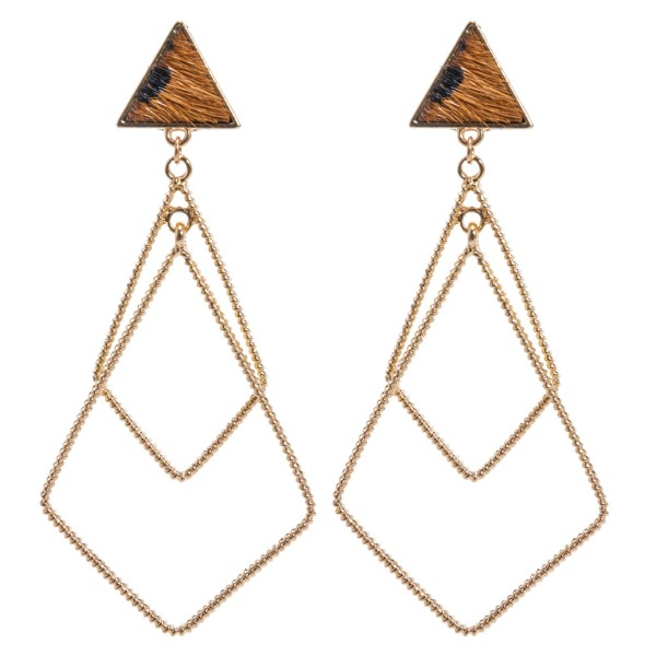 "Genuine Leather Leopard Print Triangle Statement Earrings in Gold.  - Approximately 3"" Long"