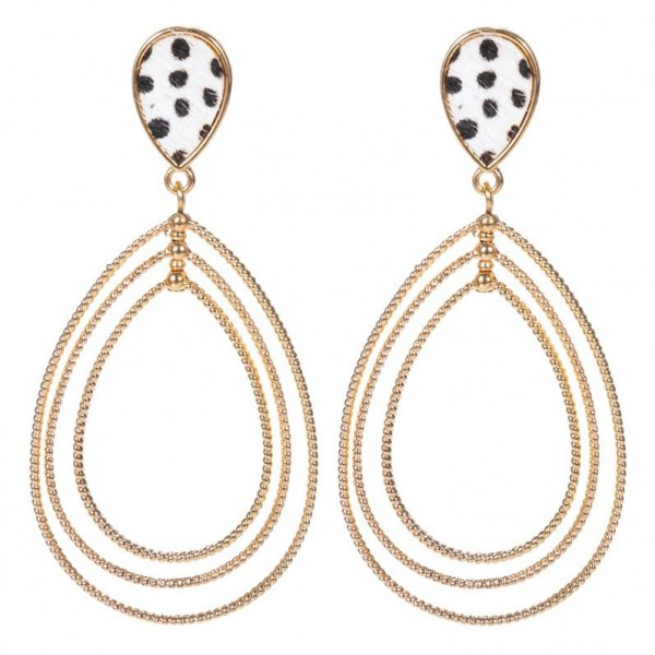 "Genuine Leather Cheetah Print Statement Teardrop Earrings in Gold.  - Approximately 2.5"" Long"