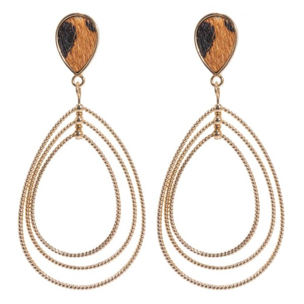 "Genuine Leather Leopard Print Statement Teardrop Earrings in Gold.  - Approximately 2.5"" Long"