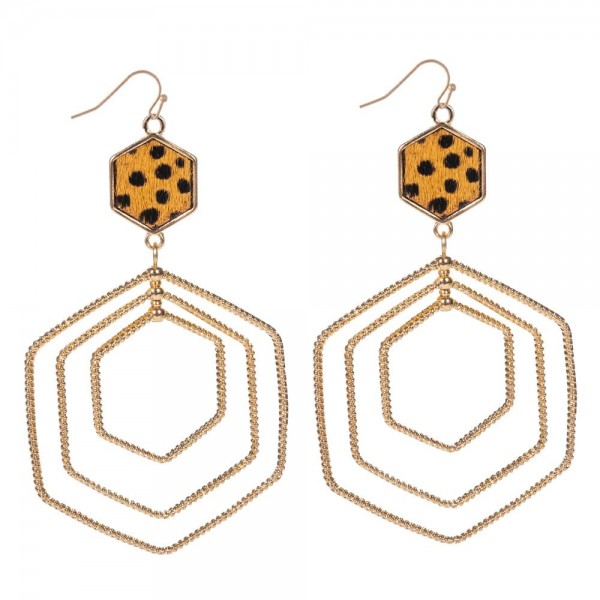 "Genuine Leather Cheetah Print Statement Drop Earrings in Gold.  - Approximately 3"" Long"