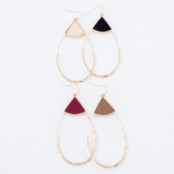 "Faux Leather Teardrop Statement Earrings in Gold.  - Approximately 3"" Long"