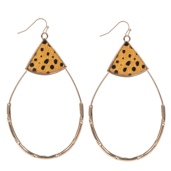 "Genuine Leather Cheetah Print Teardrop Statement Earrings in Gold.  - Approximately 3"" Long"