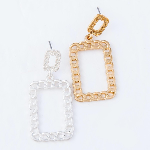 "Chain Link Square Drop Earrings.  - Approximately 2"" Long"