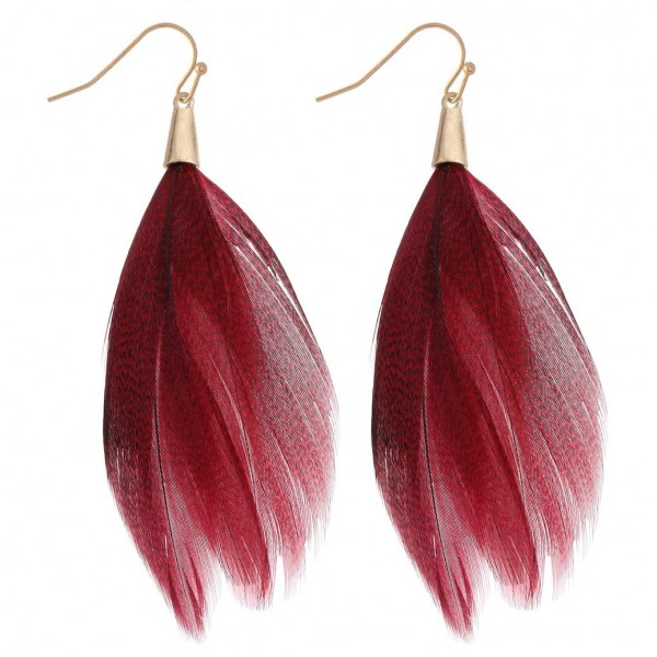 "Boho Feather Drop Earrings.  - Approximately 4"" Long"