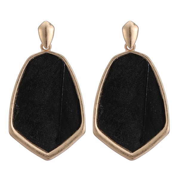 "Metal Encased Feather Drop Earrings in Gold.  - Approximately 2"" Long"
