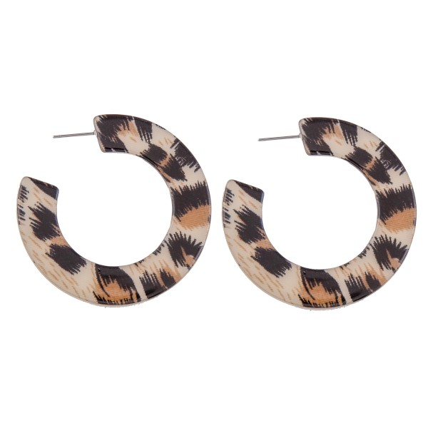 "Acrylic Animal Print Hoop Earring.  - Approximately 2"" in Diameter"