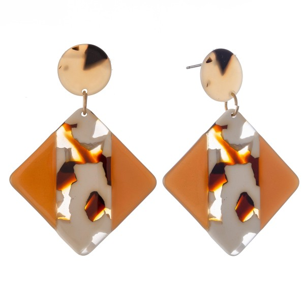 "Natural Color Acrylic Drop Earrings.  - Approximately 2.25"" L"
