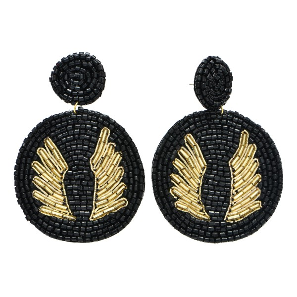 Wholesale seed Beaded Circular Felt Statement Earrings Angel Wing s Detail Long