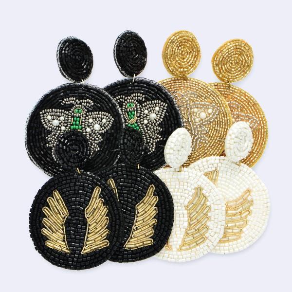 """Designer Inspired Seed Beaded Felt Bee Statement Earrings.  - Approximately 3"""" Long - 2.5"""" in Diameter"""