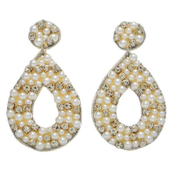 """Pearl Beaded Rhinestone Felt Teardrop Statement Earrings.  - Approximately 3.25"""" Long"""