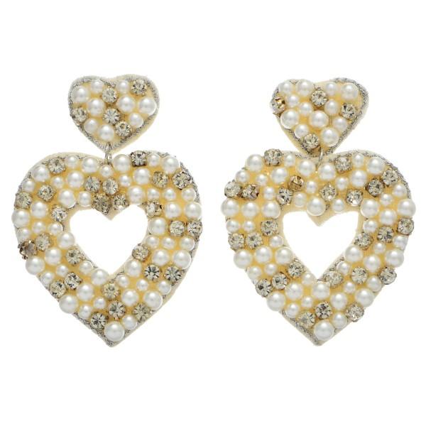 """Pearl Beaded Rhinestone Heart Felt Statement Earrings.  - Approximately 2.5"""" L x 2"""" W"""