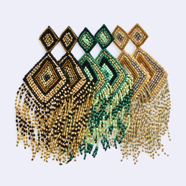 "Oversized Seed Beaded Diamond Tassel Felt Statement Earrings.  - Approximately 5"" Long"