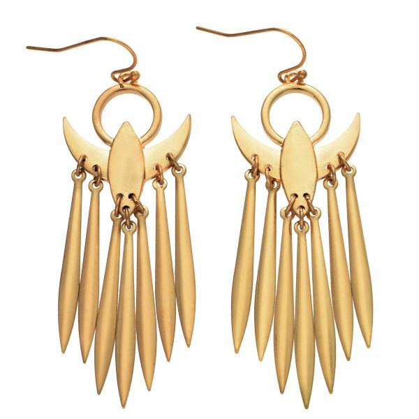 """Metal Spike Tassel Drop Earrings in Gold.  - Approximately 2.5"""" Long"""