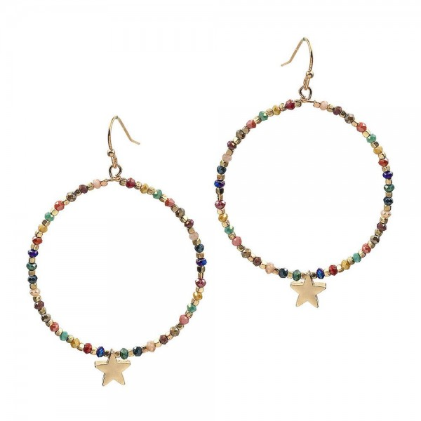 Beaded Round Drop Earrings Featuring Star Accent.