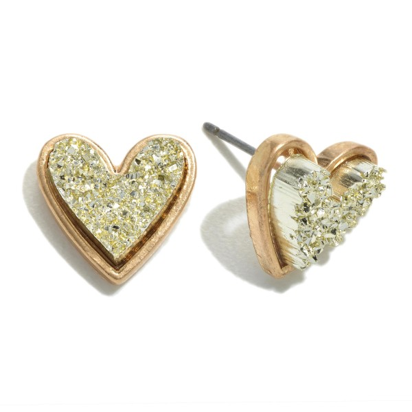 Wholesale druzy Heart Stud Earrings Gold