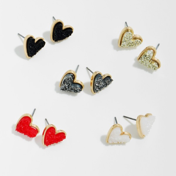 "Druzy Heart Stud Earrings in Gold.  - Approximately .5"" in Size"