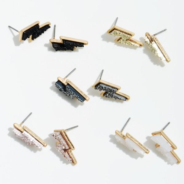 "Druzy Lightning Bolt Stud Earrings in Gold.  - Approximately .75"" in Size"