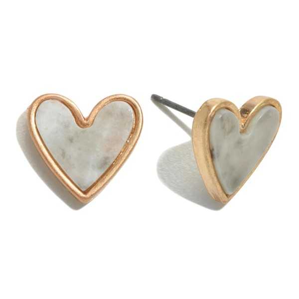 Wholesale natural Stone Heart Stud Earrings Gold
