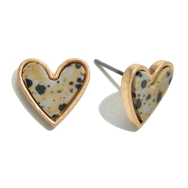"Natural Stone Heart Stud Earrings in Gold.  - Approximately .5"" in Size"