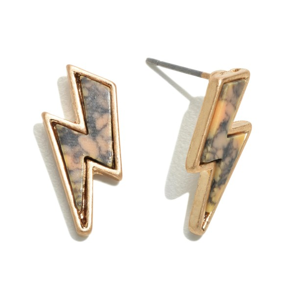 "Natural Stone Lightning Bolt Stud Earrings in Gold.  - Approximately .5"" in Size"