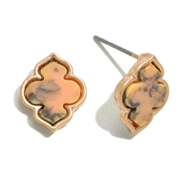 Natural Stone Moroccan Stud Earrings in Gold.  - Approximately 12mm in Size