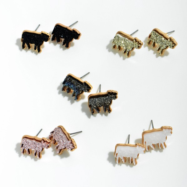 "Druzy Cow Stud Earring in Gold.  - Approximately .75"" in Size"