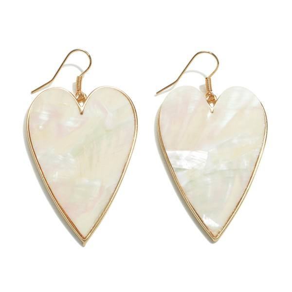 "Mother of Pearl Heart Drop Earrings in Gold.  - Approximately 2.5"" L x 1.25"" W"
