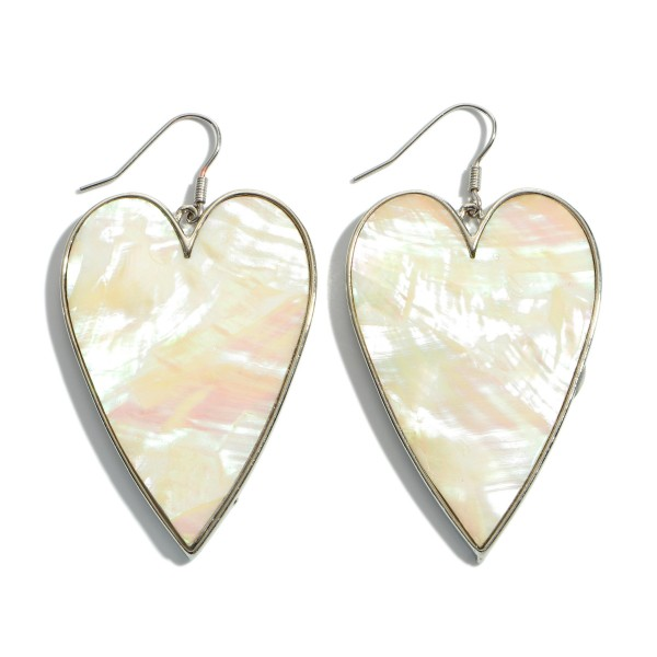 "Mother of Pearl Heart Drop Earrings in Rhodium.  - Approximately 2.5"" L x 1.25"" W"