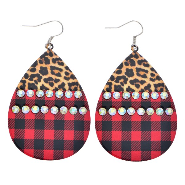 "Metal Leopard Print Buffalo Check Teardrop Earrings Featuring Rhinestone Details.  - Approximately 2.75"" in Length"