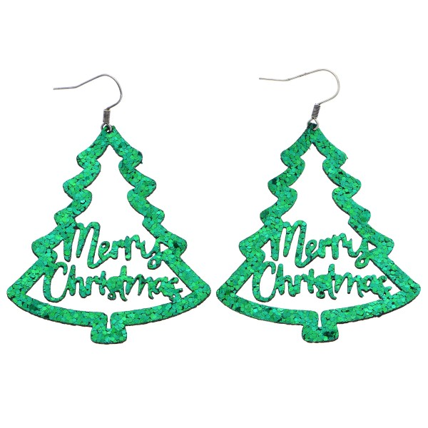 """""""Merry Christmas"""" Tree Glitter Drop Earrings.  - Approximately 2.75"""" in Length"""