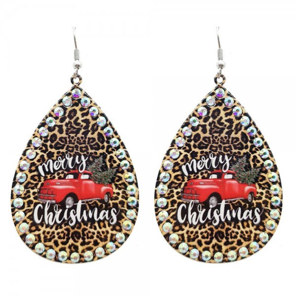 """Metal Teardrop Earrings Featuring """"Merry Christmas"""" Vintage Truck in Leopard Print with Rhinestone Accents.  - Approximately 3"""" in Length"""