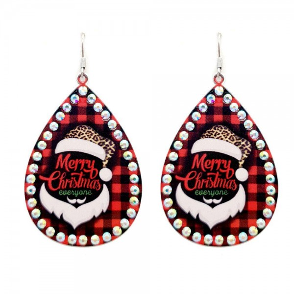 """Metal Buffalo Check Teardrop Earrings Featuring """"Merry Christmas"""" Santa in Leopard Print with Rhinestone Accents.  - Approximately 3"""" in Length"""