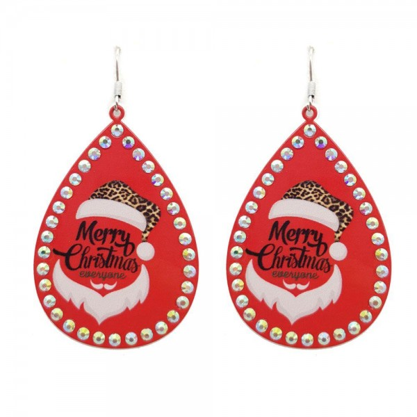 """Metal Teardrop Earrings Featuring """"Merry Christmas"""" Santa in Leopard Print with Rhinestone Accents.  - Approximately 3"""" in Length"""
