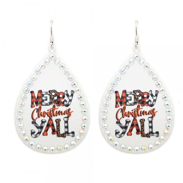 """White Metal Teardrop Earrings Featuring """"Merry Christmas Y'all"""" in Buffalo Check and Leopard Print with Rhinestone Stud Accents.  - Approximately 3"""" in Length"""