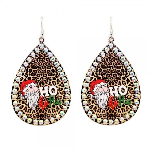 "Metal Teardrop Earrings Featuring Ho Ho Ho Santa in Leopard Print with Rhinestone Accents.  - Approximately 3"" in Length"