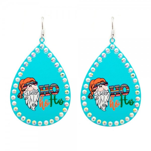 "Metal Teardrop Earrings Featuring Ho Ho Ho Santa in Serape Leopard Print with Rhinestone Accents.  - Approximately 3"" in Length"