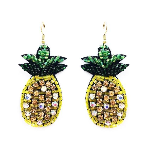 "Seed Beaded Rhinestone Felt Pineapple Drop Earrings.  - Approximately 2.5"" in Length"