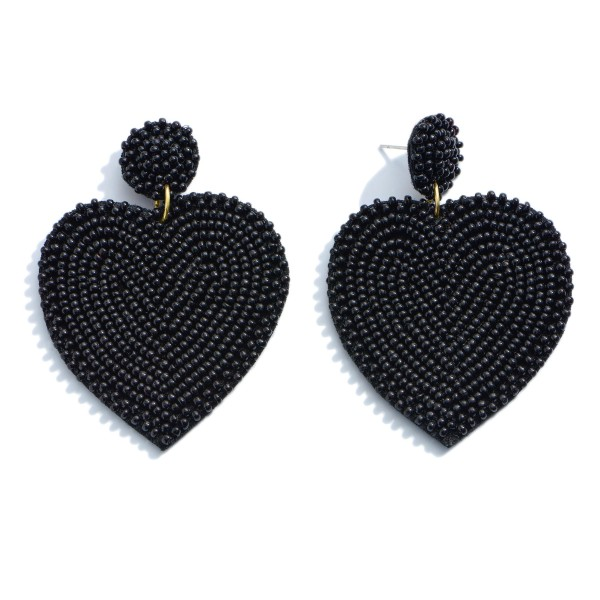 "Seed Beaded Heart Felt Statement Drop Earrings.  - Approximately 2.5"" in Length"