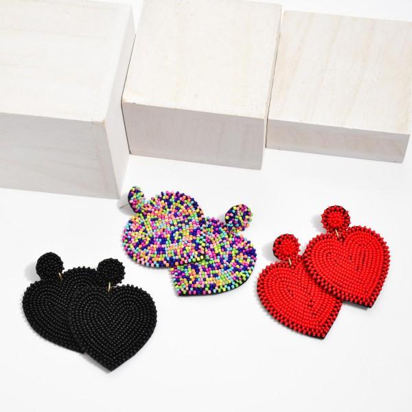 "Seed Beaded Heart Felt Statement Drop Earrings.  - Approximately 2.5"" in Length"