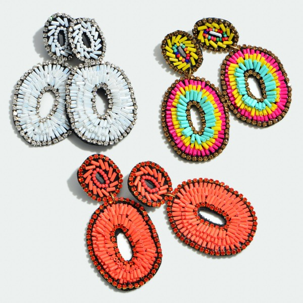"Seed Beaded Felt Oval Ring Statement Drop Earrings Featuring Rhinestone Trim Detail.  - Approximately 3"" in Length"