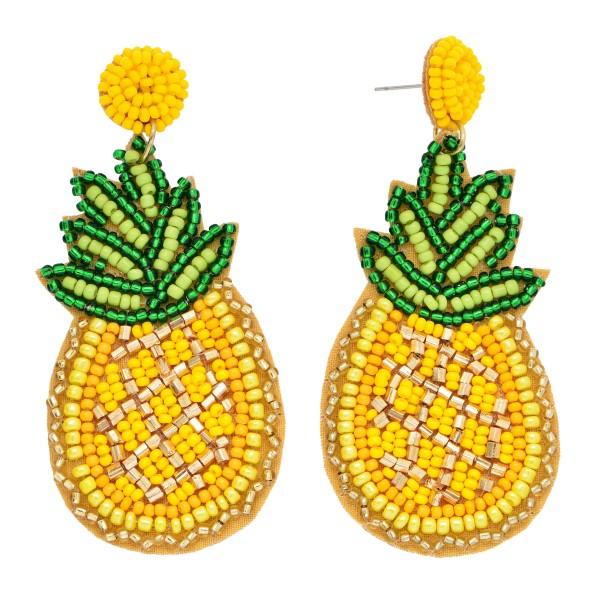 """Seed Beaded Pineapple Felt Teardrop Statement Earrings.  - Approximately 2.5"""" in Length"""