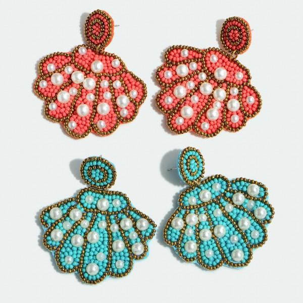 """Seed Beaded Felt Pearl Seashell Statement Drop Earrings.  - Approximately 2"""" L x 2"""" W"""