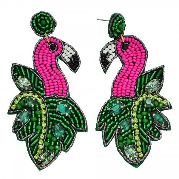 "Seed Beaded Rhinestone Felt Tropical Flamingo Drop Earrings.  - Approximately 3"" in Length"